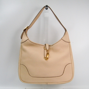 Hermes Trim 35 Women's Taurillon Clemence Leather Shoulder Bag Ivory