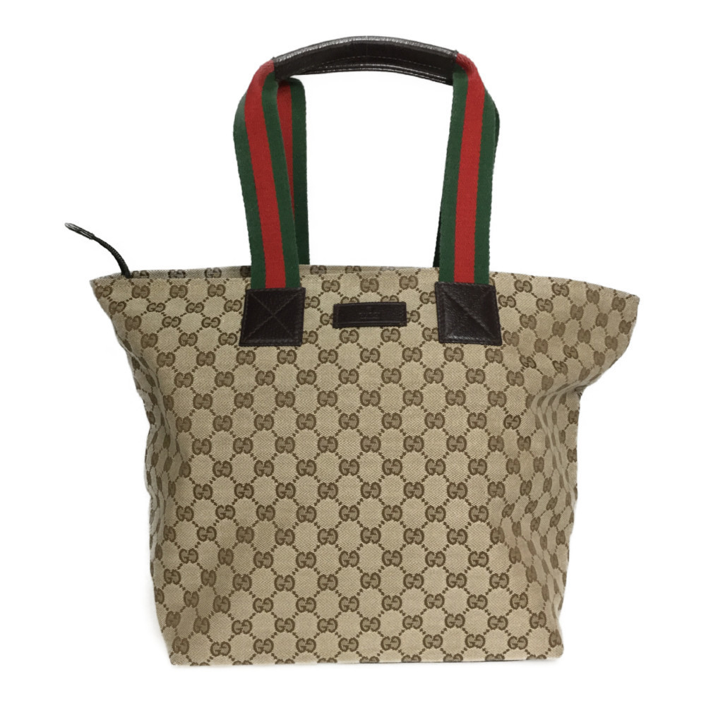 Auth Gucci GG Canvas 131231 Handbag Tote Bag Beige
