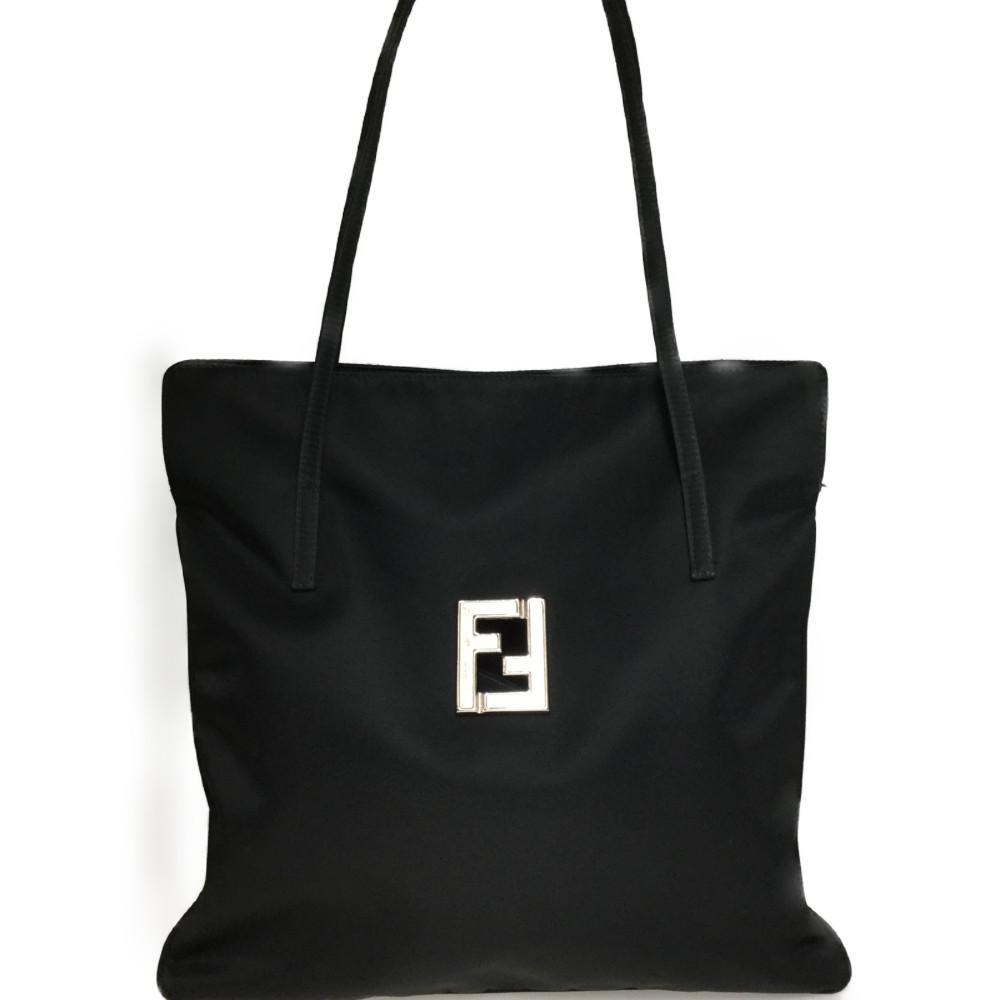 Auth Fendi 06-10 15783 99 2 Nylon Shoulder Bag Black