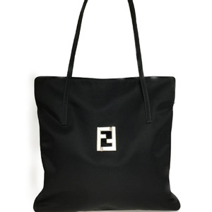 Auth Fendi 06-10 15783 99 2 Nylon Shoulder Bag Black