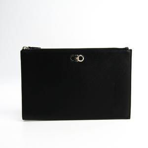 Salvatore Ferragamo Gancini 22 C444 Women's Leather Clutch Bag Black