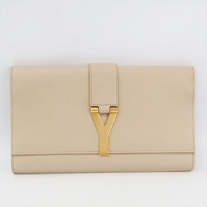 Saint Laurent 311213 Women's Leather Clutch Bag Beige