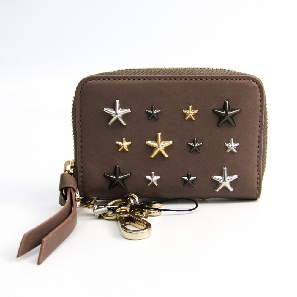 Jimmy Choo CADET LTR J000104142001 Women's Leather Key Case Studded Grayish