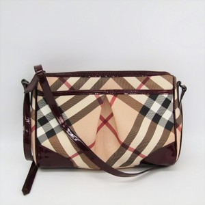 Burberry Women's PVC,Patent Leather Shoulder Bag Beige,Bordeaux