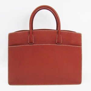 Hermes White Bus Women's Fjord Leather Handbag Brown