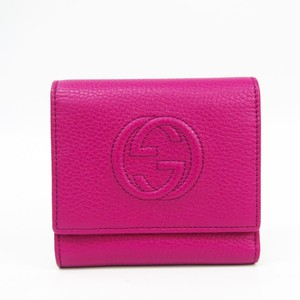 Gucci Soho 351485 Women's Leather Wallet (tri-fold) Pink