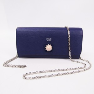 Fendi 8M0365 Women's Leather Chain/Shoulder Wallet Purple