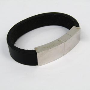 Hermes Leather,Metal Bracelet Black,Silver