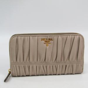Prada NAPPA GAUFRE'1 1M0506 Women's Leather Long Wallet (bi-fold) Grayish