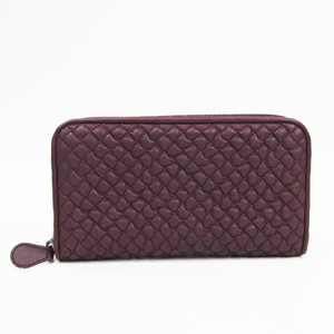 Bottega Veneta 114076  Lambskin Long Wallet (bi-fold) Purple