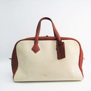 Hermes Victoria 43 Unisex Canvas,Leather Boston Bag Beige,Brown