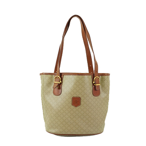 Auth Celine Tote Bag Macadam Leather Beige Brown