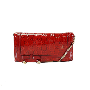 Auth Gucci Shoulder Bag Broadway Red Silver