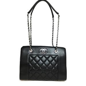Auth Chanel Matelasse Chain Tote Bag Black
