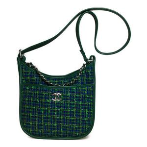 シャネル(Chanel) 2Way ショルダー ハンドバッグ ツイード レザー ブルー,グリーン シルバー金具