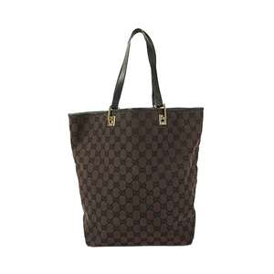 Auth Gucci Tote Bag GG Canvas Brown