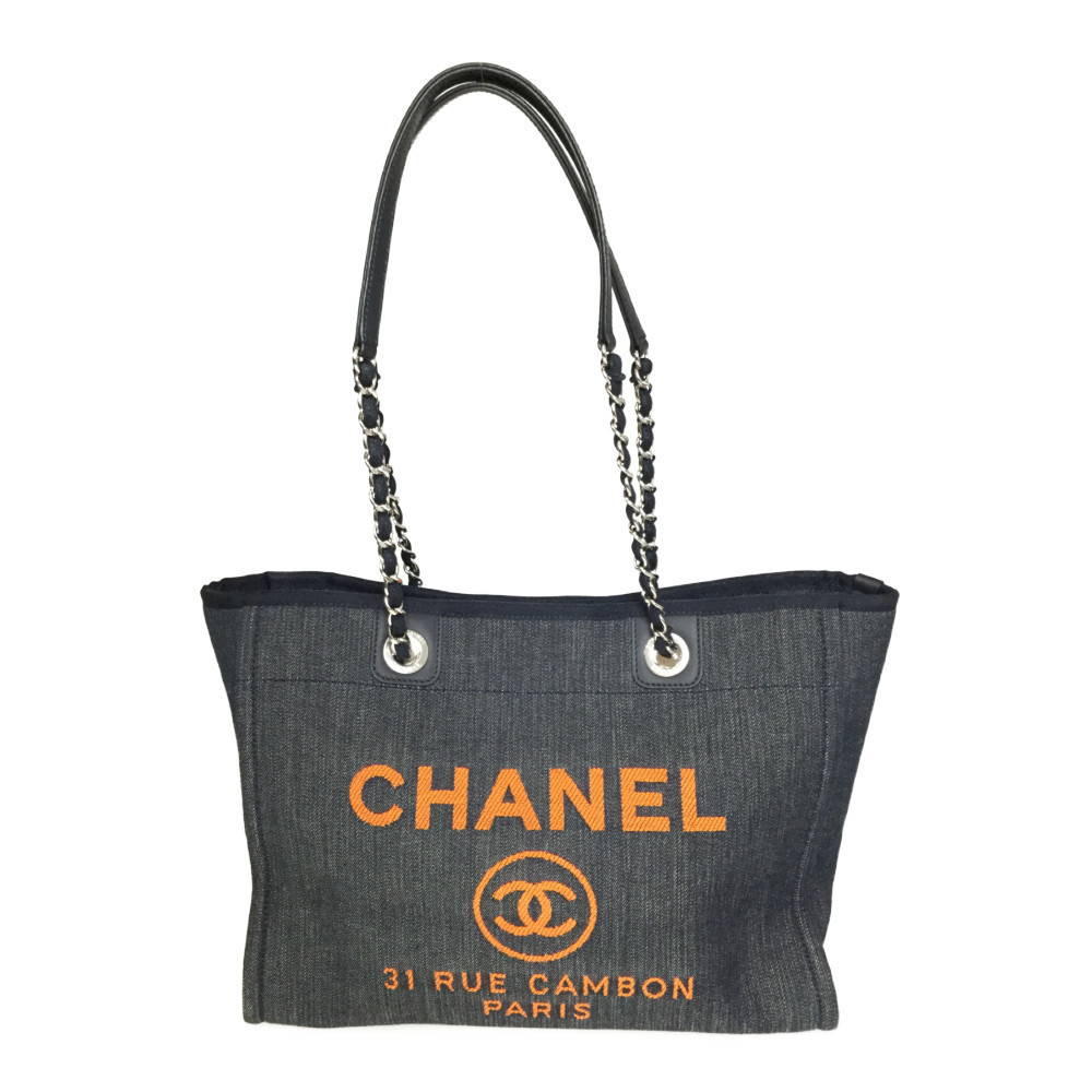 Auth Chanel Deauville A67001 Denim Tote Bag Blue Orange