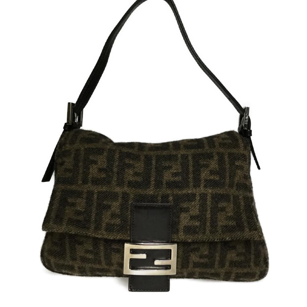 Fendi Zucca 2321.26325.099 Mamma Bucket Wool Leather Shoulder Bag Brown