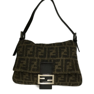 Auth Fendi Zucca 2321.26325.099 Mamma Bucket Wool Leather Shoulder Bag Brown