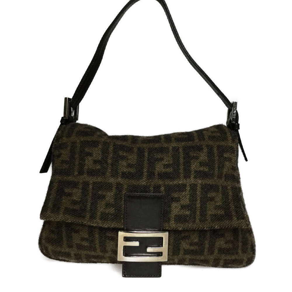0a1e6ef450 Auth Fendi Zucca 2321.26325.099 Mamma Bucket Wool Leather Shoulder Bag Brown