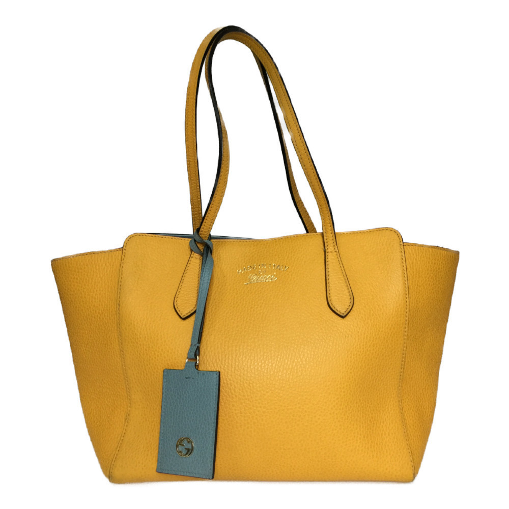 Auth Gucci Gucci Swing 354408 Women's Leather Canvas Tote Bag Yellow