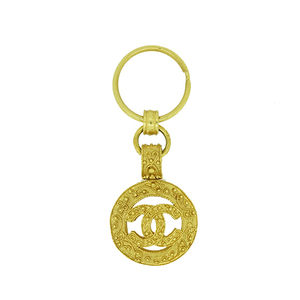 Auth Chanel Vintage Charm Keyring plating Gold