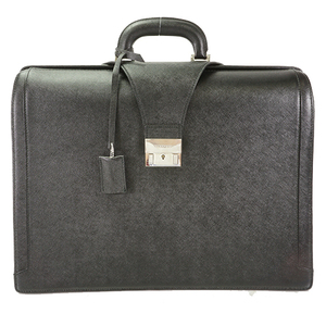 Auth Burberry Doctor Briefcase Business Bag Black Silver