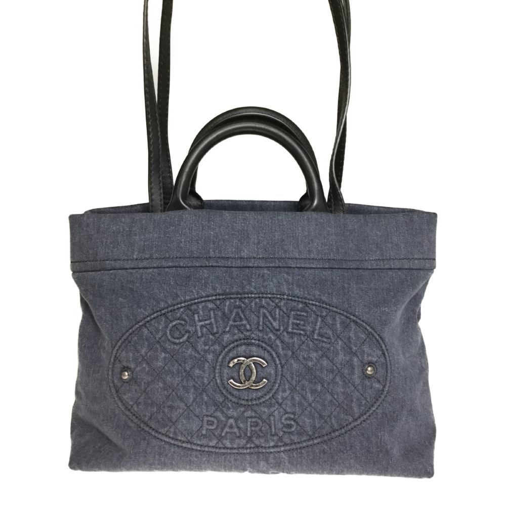 Auth Chanel A93373 2WAY Denim Tote Bag Dark Blue Black