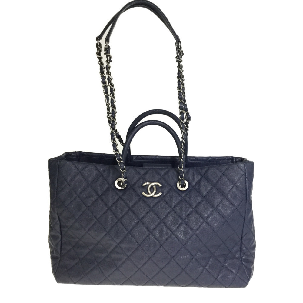 Auth Chanel 2WAY Chain Totebag Shoulder Bag Caviar Leather Navy