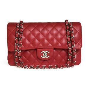 Auth Chanel Matelasse Ramb skin MATELASSE Double flap chain Shoulder Bag Red