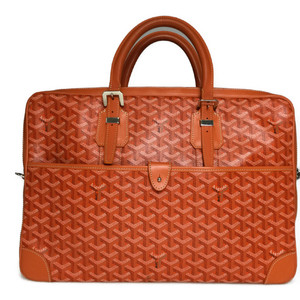 Auth Goyard Ambassade MM Briefcase Business Bag Leather Orange