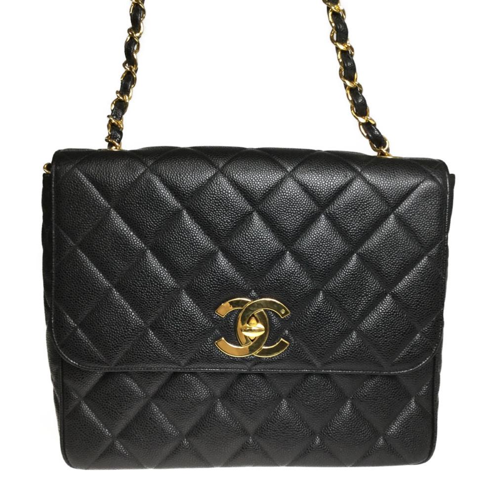 Auth Chanel Matelasse Caviar Leather Single Chain Shoulder Bag Black