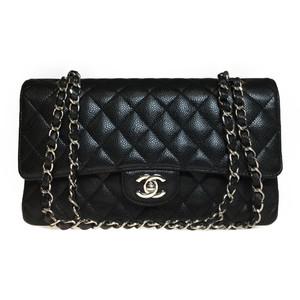 Auth Chanel Caviar Skin A01112 Mattrase Double flap Chain Shoulder Bag