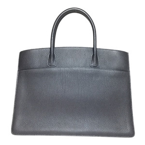 Auth Hermes White Bus □D Engraved Handbag Black