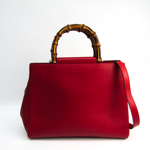 Gucci Bamboo Nymphaea Medium 453766 Women's Leather Tote Bag Red