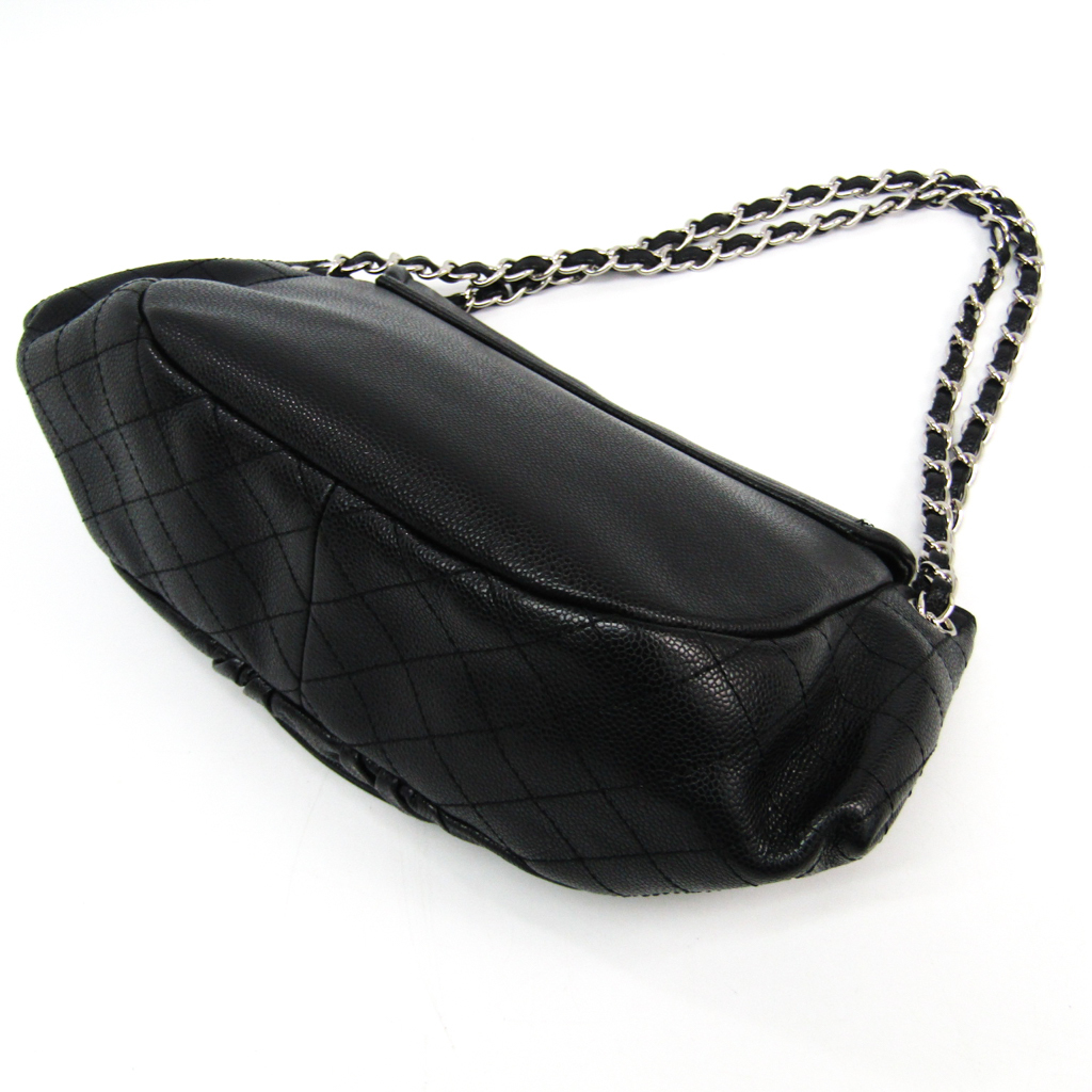 Chanel Caviar Skin Half Moon Women s Caviar Leather Shoulder Bag ... 37c38454e8