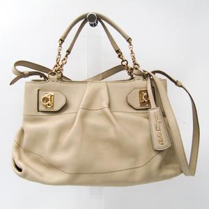 Salvatore Ferragamo Gancini 21 D477 Women's Leather Handbag,Shoulder Bag Beige