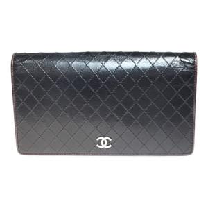 シャネル(Chanel) ビコローレ A33911 レザー 長財布(二つ折り) ブラック ボルドー