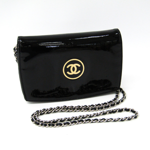 Chanel Make-up Line Women's Patent Leather Chain/Shoulder Wallet Black