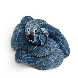 シャネル(Chanel) デニム コサージュ ブルー