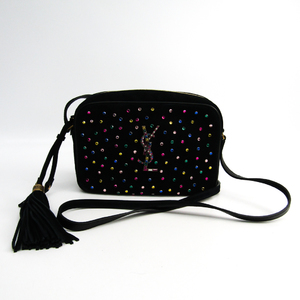 Saint Laurent 513593 Women's Suede,Rhinestone Shoulder Bag Multi-color,Black