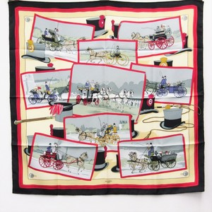 Hermes Carre90 Carrier Handle Women's Silk Scarf Black,Multi-color,Red