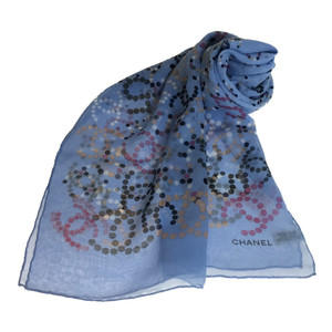 Auth Chanel Scarf Blue Silk