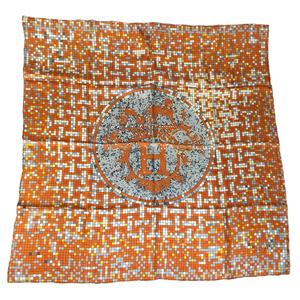 エルメス(Hermes) カレ90 モザイク24 オレンジ Mosaique Au 24 スカーフ オレンジ