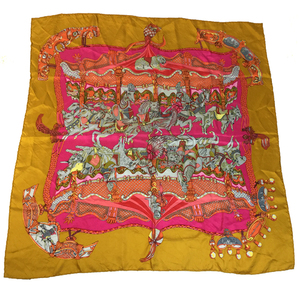 Auth Hermes Carre90 Scarf TOURNEZ MANEGE Dark Yellow,Pink