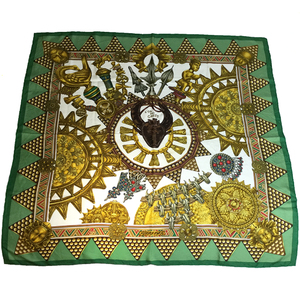 Auth HermesCarre 90 L'OR DES CHEFS Scarf Gold,Green