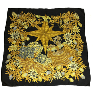Auth Hermes Carre90 PASSIFLORES Scarf Black,Gold