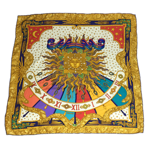 Auth Hermes  Carre90  CARPE DIEM  Scarf Multi-color