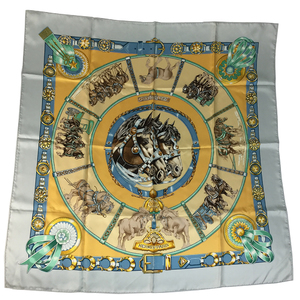 Auth Hermes Carre90 CHEVAUX DE TRAIT Scarf Light Blue