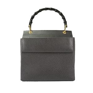 Auth Gucci Handbag Bamboo Black Gold